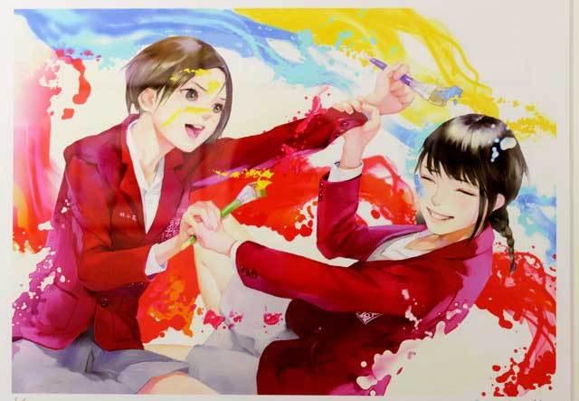 『「制服至上・制服至上2―台湾女子高生制服選―」出版記念 蚩尤個展』   絵筆を持ったまま友達とはしゃぐ女の子たち。とても楽しそうで、仲の良い様子が伝わってくる。