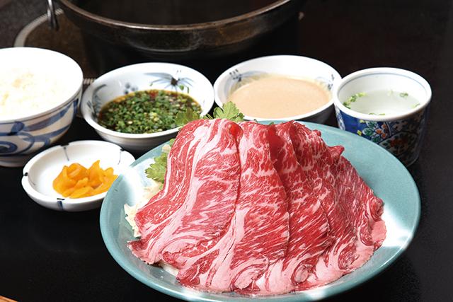 牛しゃぶ定食(100g)(ライス・お新香・スープ付)1,350円|しゃぶしゃぶにいむら 本店