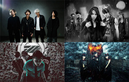 (左上から時計回りに)ONE OK ROCK、VAMPS、BABYMETAL、SiM