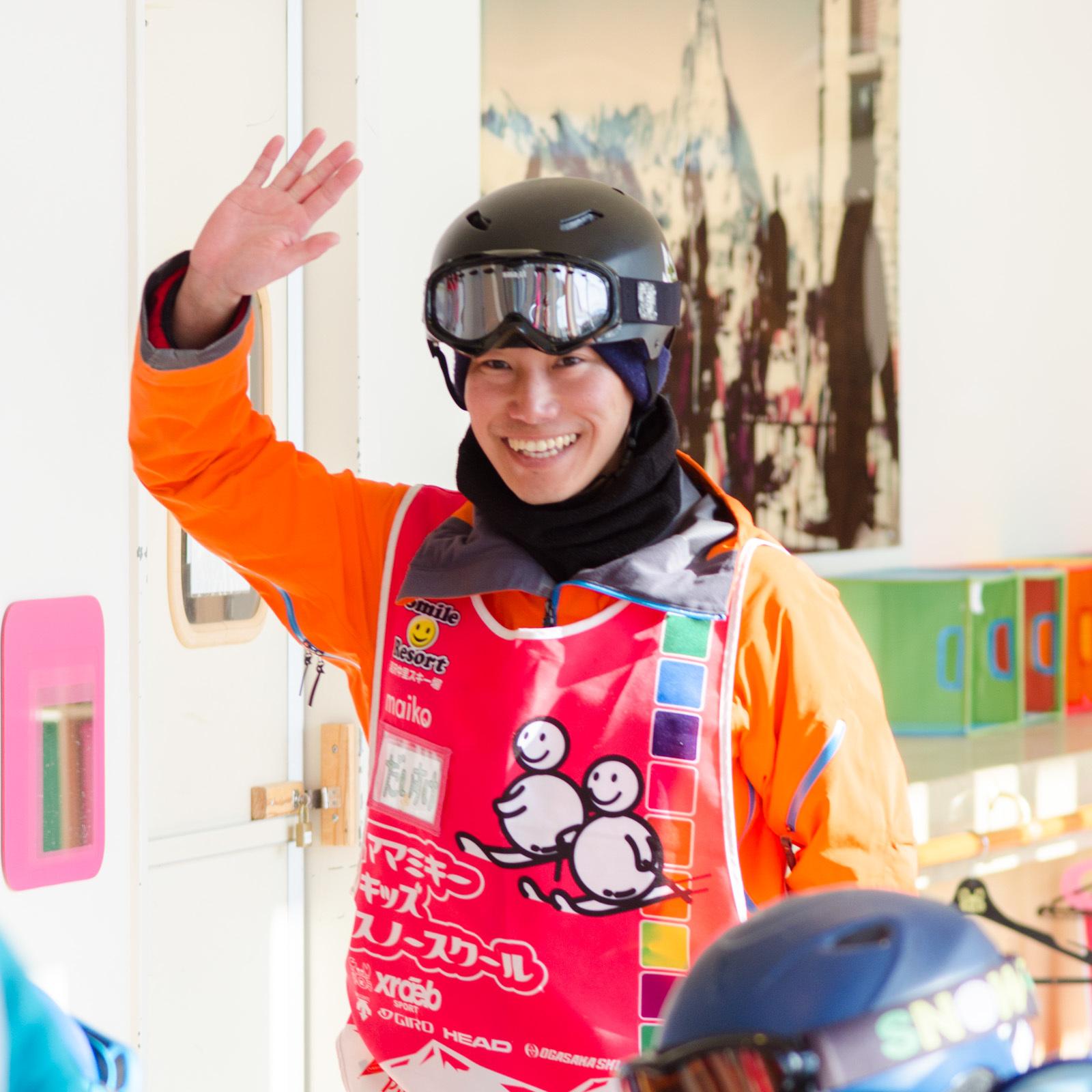 今日のスノーボードレッスンは、だいすけ先生が担当!|ママミキーキッズスノースクール